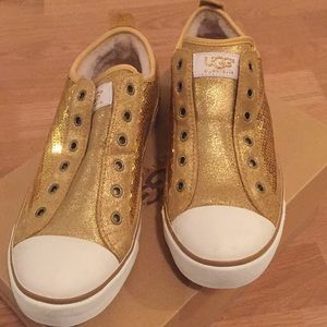 Gold sequined ugg sneakers